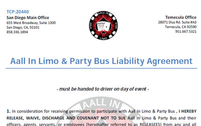 Fillable Forms Contracts Aall In Limo Party Bus
